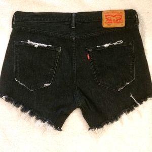 Levi's black 501 jean shorts